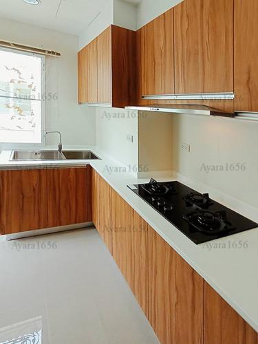 ชุดครัว Built-in โครงซีเมนต์บอร์ด หน้าบาน Laminate สี Classic Walnut
