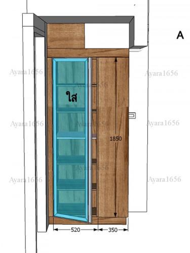 ตู้โชว์โครงปาติเกิล หน้าบาน Melamine สี Pine ลายไม้แนวตั้ง 2
