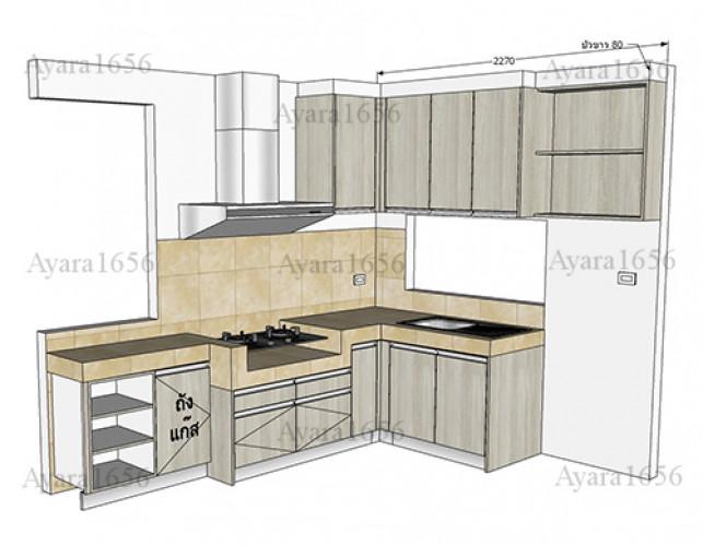 ชุดครัว Built-in โครงซีเมนต์บอร์ด หน้าบาน Melamine สีลายไม้ - ม.ชัยพฤกษ์ 7