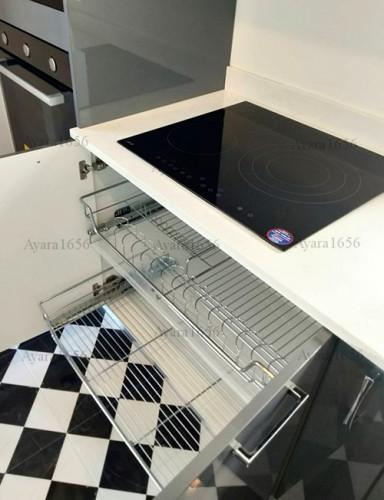 ชุดครัว Built-in โครง HMR หน้าบาน Hi Gloss สีเทาเงา + ขาวเงา 6