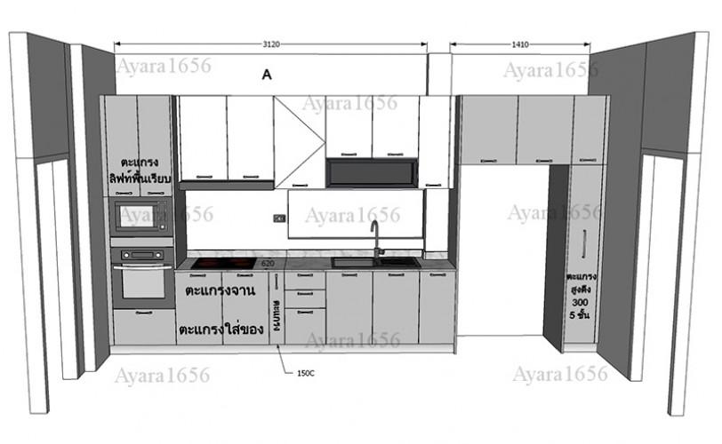 ชุดครัว Built-in โครง HMR หน้าบาน Hi Gloss สีเทาเงา + ขาวเงา 8