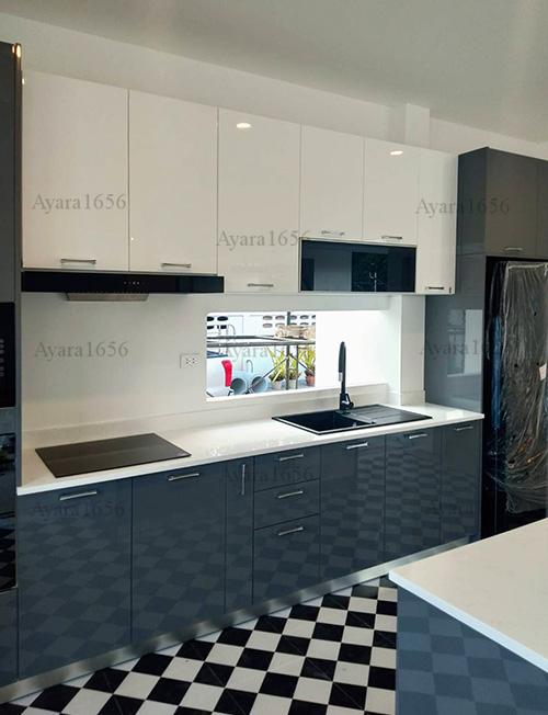ชุดครัว Built-in โครง HMR หน้าบาน Hi Gloss สีเทาเงา + ขาวเงา 2