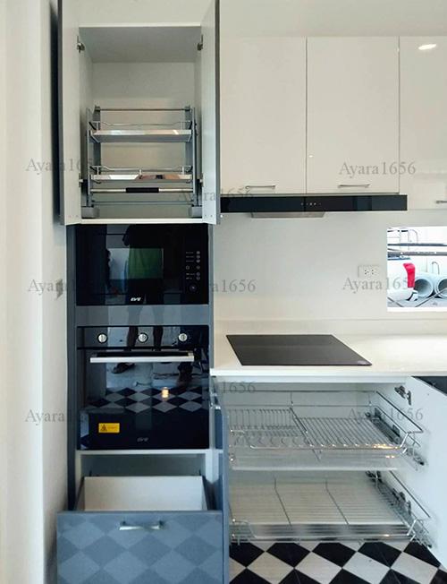 ชุดครัว Built-in โครง HMR หน้าบาน Hi Gloss สีเทาเงา + ขาวเงา 4