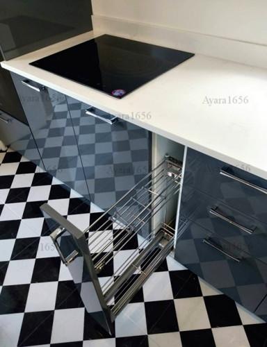 ชุดครัว Built-in โครง HMR หน้าบาน Hi Gloss สีเทาเงา + ขาวเงา 7