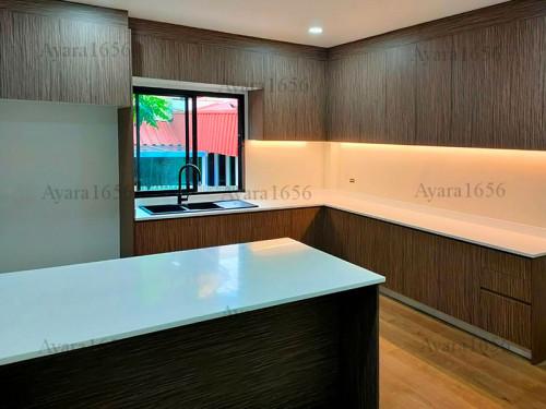 ชุดครัว Built-in โครงซีเมนต์บอร์ด หน้าบาน Melamine ES 5044-15 สีลายไม้