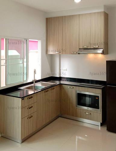 ชุดครัว Built-in โครงซีเมนต์บอร์ด หน้าบาน Laminate สี Avignon Walnut