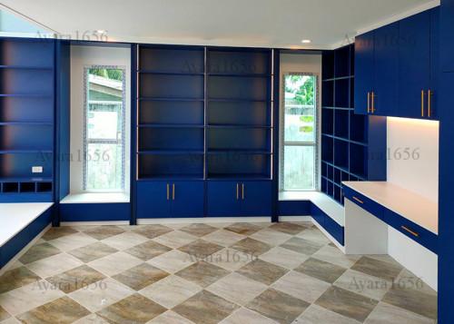 ตู้หนังสือ โครง HMR ปิด Laminate สี Marine Blue