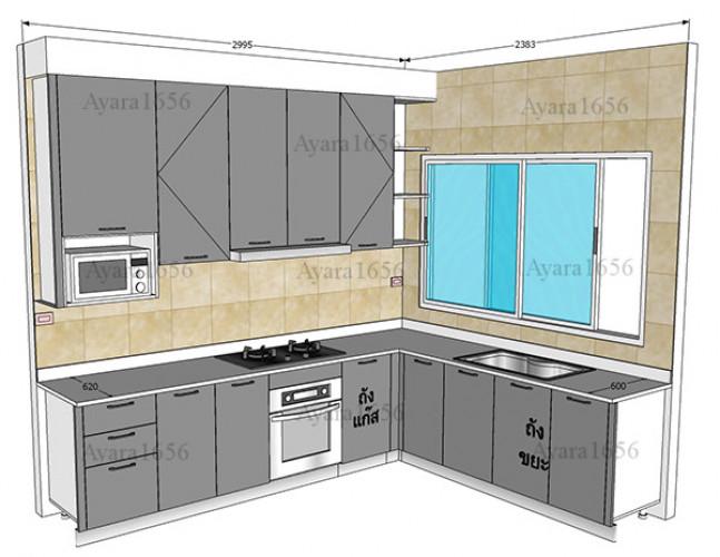 ชุดครัว Built-in โครงซีเมนต์บอร์ด หน้าบาน Hi Gloss สีเทาเงา 6