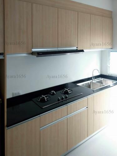 ชุดครัว Built-in โครงซีเมนต์บอร์ด หน้าบาน Melamine ES 5006-17 ลายไม้ - ม.Indy