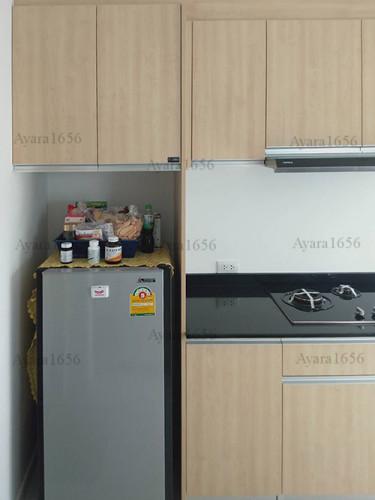 ชุดครัว Built-in โครงซีเมนต์บอร์ด หน้าบาน Melamine ES 5006-17 ลายไม้ - ม.Indy 2