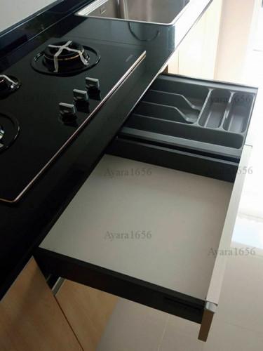 ชุดครัว Built-in โครงซีเมนต์บอร์ด หน้าบาน Melamine ES 5006-17 ลายไม้ - ม.Indy 3