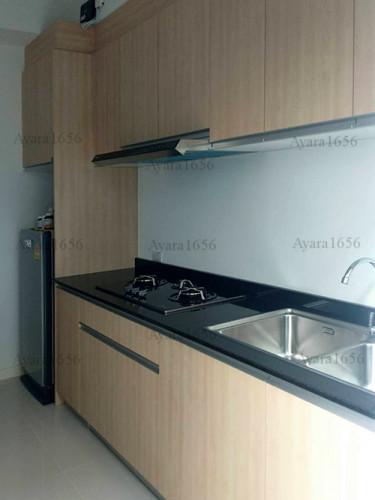 ชุดครัว Built-in โครงซีเมนต์บอร์ด หน้าบาน Melamine ES 5006-17 ลายไม้ - ม.Indy 1