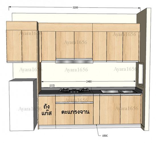 ชุดครัว Built-in โครงซีเมนต์บอร์ด หน้าบาน Melamine ES 5006-17 ลายไม้ - ม.Indy 5