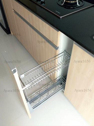 ชุดครัว Built-in โครงซีเมนต์บอร์ด หน้าบาน Melamine ES 5006-17 ลายไม้ - ม.Indy 4