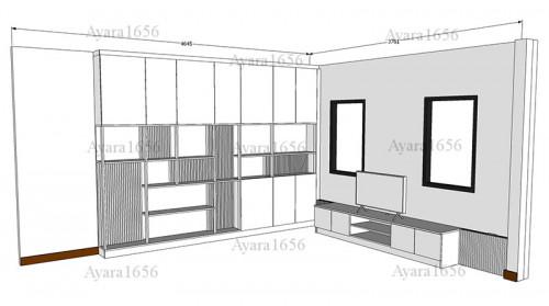 ตู้โชว์ + ตู้ TV โครง HMR หน้าบาน Melamine ES 5013-13 ลายไม้ 5