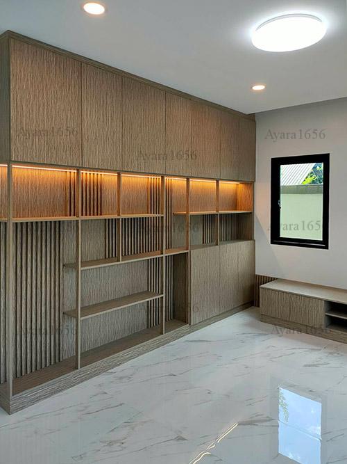 ตู้โชว์ + ตู้ TV โครง HMR หน้าบาน Melamine ES 5013-13 ลายไม้ 4