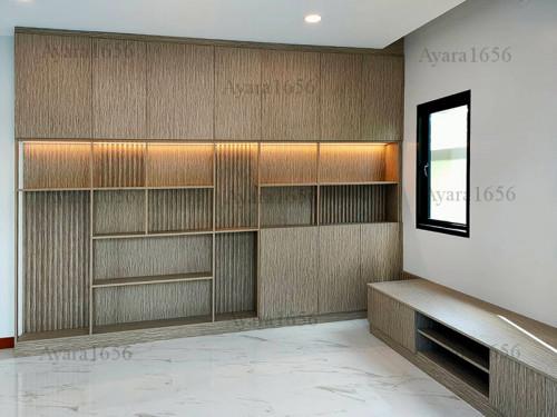 ตู้โชว์ + ตู้ TV โครง HMR หน้าบาน Melamine ES 5013-13 ลายไม้ 1
