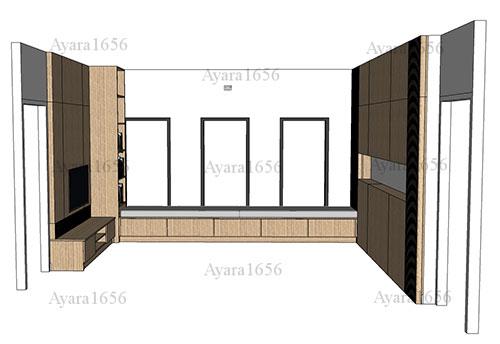ตู้ TV  HMR หน้าบาน Melamine ES 5018-17 ลายไม้ 5