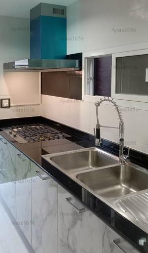 ชุดครัว Built-in โครงซีเมนต์บอร์ด หน้าบาน Laminate สี Calacatta Marble -  ม.The City 2