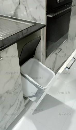 ชุดครัว Built-in โครงซีเมนต์บอร์ด หน้าบาน Laminate สี Calacatta Marble -  ม.The City 6
