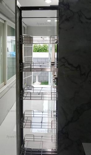 ชุดครัว Built-in โครงซีเมนต์บอร์ด หน้าบาน Laminate สี Calacatta Marble -  ม.The City 5