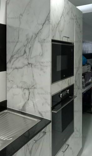 ชุดครัว Built-in โครงซีเมนต์บอร์ด หน้าบาน Laminate สี Calacatta Marble -  ม.The City 3
