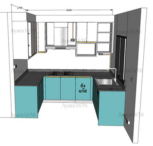 ชุดครัว Built-in โครงซีเมนต์บอร์ด หน้าบาน Hi Gloss สีเขียวเงา + สีครีมเงา Ivory 4