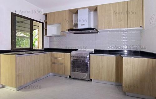 ชุดครัว Built-in โครงซีเมนต์บอร์ด หน้าบาน Laminate สี Danish Maple
