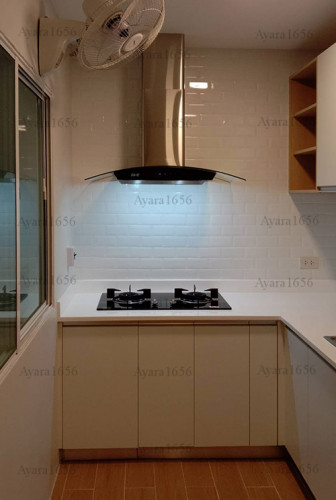 ชุดครัว Built-in โครงซีเมนต์บอร์ด หน้าบาน Melamine สีขาวด้าน - ม.The Trust 3