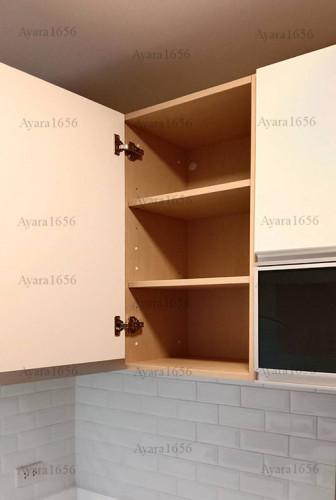 ชุดครัว Built-in โครงซีเมนต์บอร์ด หน้าบาน Melamine สีขาวด้าน - ม.The Trust 4