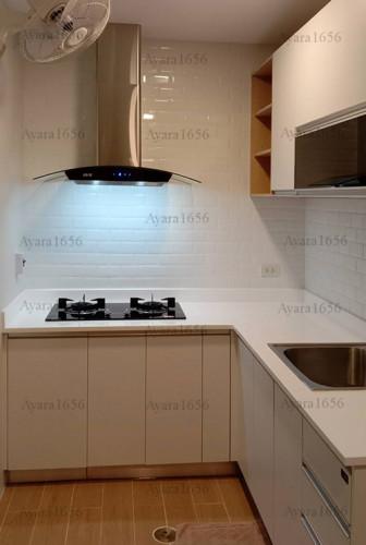 ชุดครัว Built-in โครงซีเมนต์บอร์ด หน้าบาน Melamine สีขาวด้าน - ม.The Trust 1