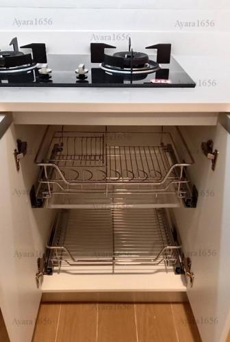 ชุดครัว Built-in โครงซีเมนต์บอร์ด หน้าบาน Melamine สีขาวด้าน - ม.The Trust 7