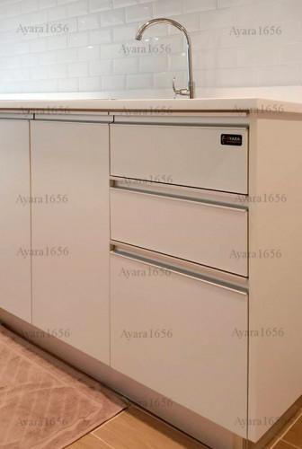 ชุดครัว Built-in โครงซีเมนต์บอร์ด หน้าบาน Melamine สีขาวด้าน - ม.The Trust 5