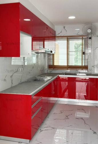 ชุดครัว Built-in โครงซีเมนต์บอร์ด หน้าบาน Hi Gloss สีแดง