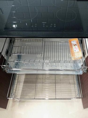ชุดครัว Built-in โครงซีเมนต์บอร์ด หน้าบาน Melamine สี ES 5022-17 - ม.บ้านกลางกรุง 7