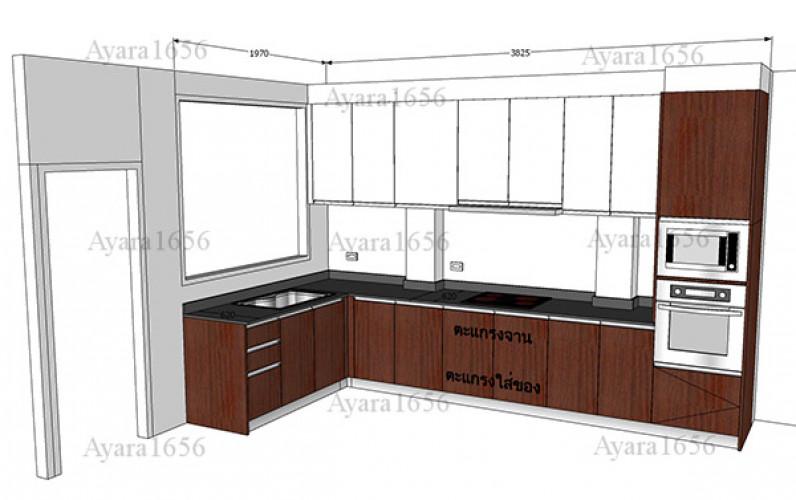 ชุดครัว Built-in โครงซีเมนต์บอร์ด หน้าบาน Melamine สี ES 5022-17 - ม.บ้านกลางกรุง 8