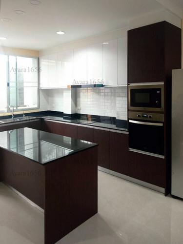 ชุดครัว Built-in โครงซีเมนต์บอร์ด หน้าบาน Melamine สี ES 5022-17 - ม.บ้านกลางกรุง 1