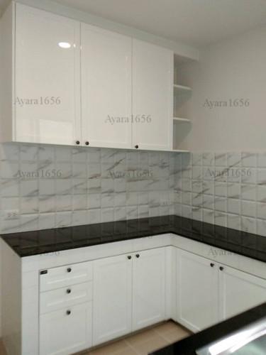 ชุดครัว Built-in โครงซีเมนต์บอร์ด หน้าบาน Hi Gloss สีขาวด้าน