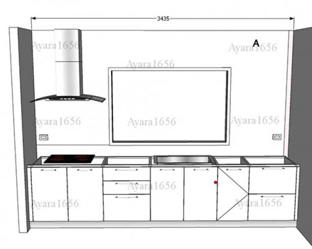 ชุดครัว Built-in โครงซีเมนต์บอร์ด หน้าบาน Melamine สีขาวเงา - ม.Town Plus 4