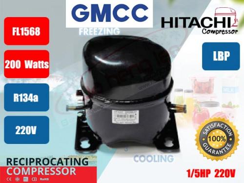 คอมเพรสเซอร์ ตู้เย็น GMCC (HITACHI)  รุ่น FL1568-SQ ขนาด 1/5HP น้ำยา R134a