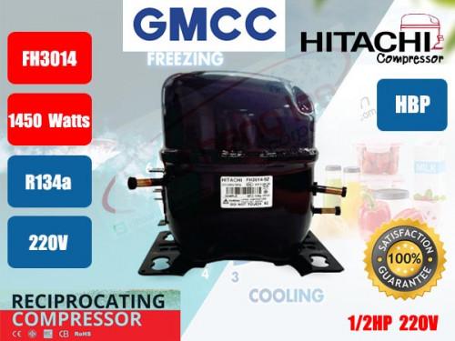 คอมเพรสเซอร์ ตู้เย็น GMCC (HITACHI)  รุ่น FH3014-SY ขนาด 1/2HP น้ำยา R134a (ทดแทนคอม AE7440E, BA7440