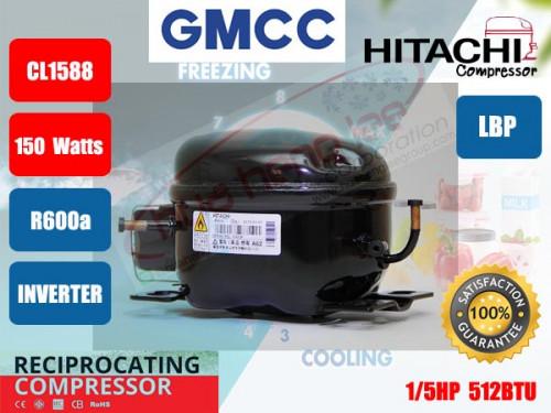 คอมเพรสเซอร์ ตู้เย็น GMCC (HITACHI)  รุ่น CL1588-DA,DZ ขนาด 1/5HP น้ำยา R600a