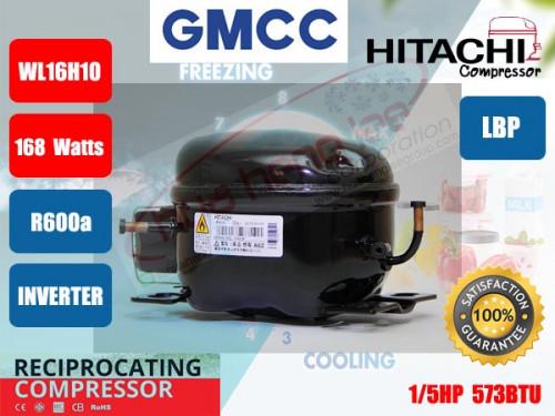 คอมเพรสเซอร์ ตู้เย็น GMCC (HITACHI)  รุ่น WL16H10DZB ขนาด 1/5HP น้ำยา R600a
