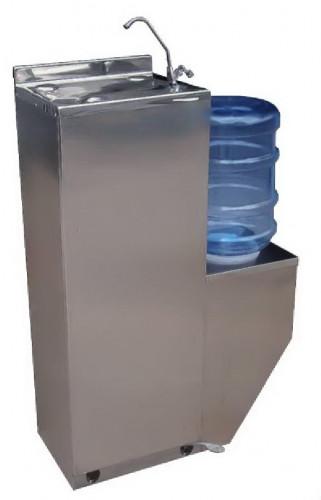 ตู้น้ำเย็นแสตนเลส รุ่นเท้าเหยียบ มีก๊อกงวง แบบใช้ขวดคว่ำ ยี่ห้อ KINXONS MWF8P
