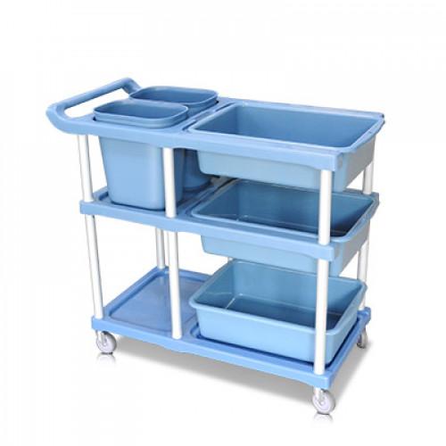 รถเข็นเก็บจานพลาสติก สำหรับพนักงานเคลียร์โต๊ะอาหาร 1403-024