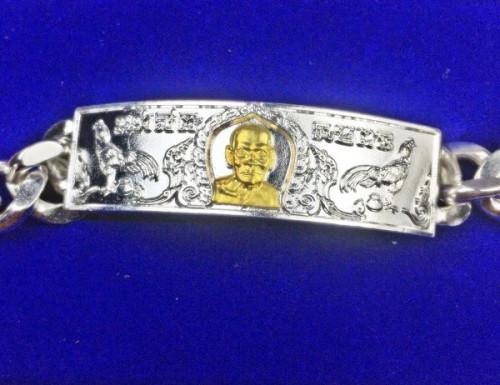 เลส รุ่นชนะจน ขนาดน้ำหนัก ๓ บาท เนื้อทองเหลืองชุบเงิน หน้ากากทองทิพย์