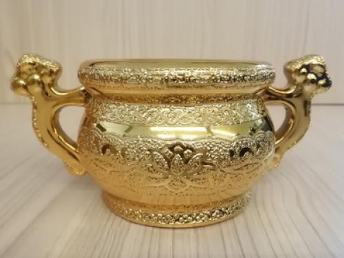 กระถางธูป(ทองทราย(มีหู),เซรามิคบัวเหลือง)4นิ้ว[229]