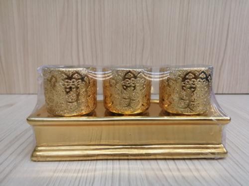 ชุดน้ำชา 3 ถ้วย สีทอง ลายเจียวไช้[259]