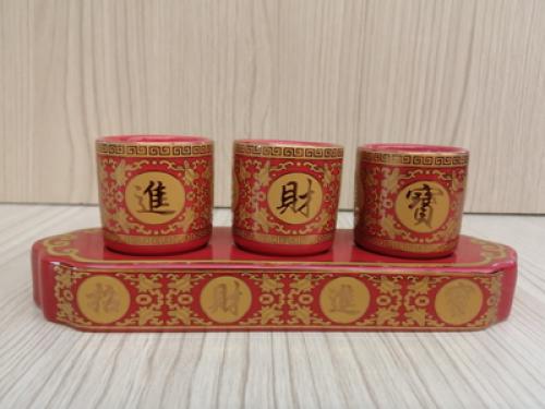 ชุดน้ำชา 3 ถ้วย สีแดง ลายเจียวไช้