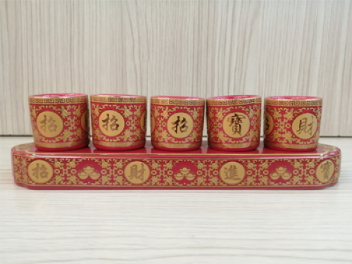 ชุดน้ำชา 5 ถ้วย สีแดงลายมังกร